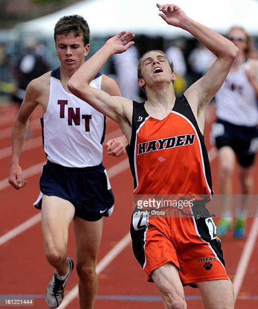LAKEWOOD COChris Zirkle Hayden High School right celebrates his victory over Ty Williams Telluride left in the boys 2A 1600 meter race at the...