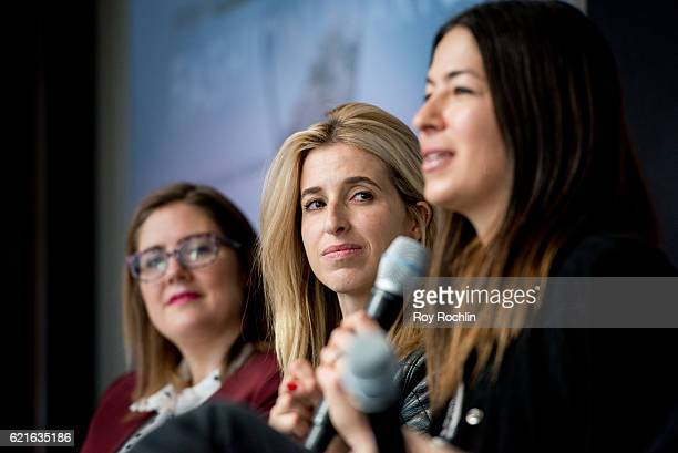 Co-Christine Hunsicker, Katia Beauchamp and Rebecca Minkoff discuss Project Runway: Fashion Startup Stars for a Power Salon at Hearst Tower on...