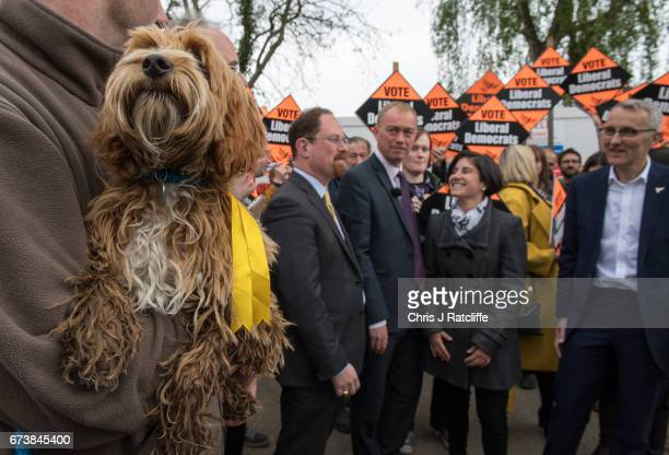 Cockapoo dog 'Bonnie' is seen as Liberal Democrats leader Tim Farron is seen campaigning for the British general election at Eastfield regeneration...