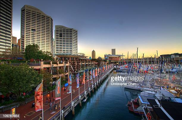 cockle bay wharf, sydney - darling harbour stock pictures, royalty-free photos & images