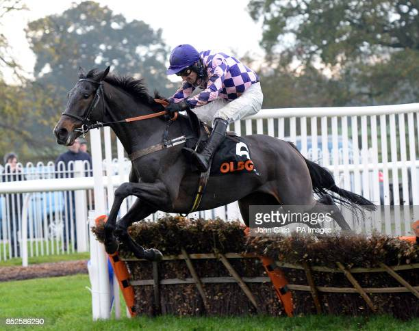 Cockney Sparrow and Dougie Costello jump the final hurdle on their way to victory in the OLBGcom Mares Hurdle Race at Wetherby Racecourse Wetherby