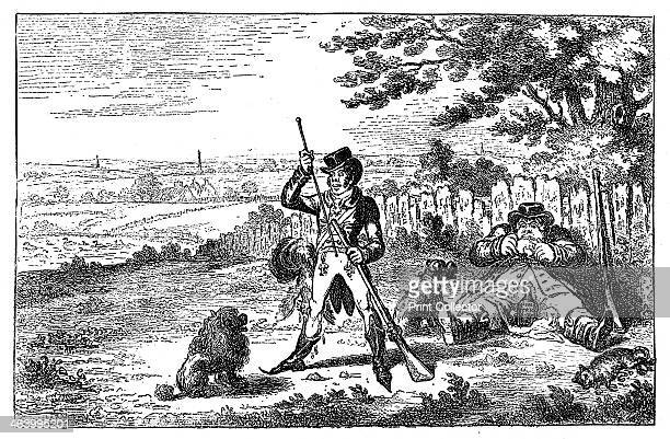 'Cockney Sportsmen Recharging' 1800 Illustration from Social Caricature in the Eighteenth Century With over two hundred illustrations by George...