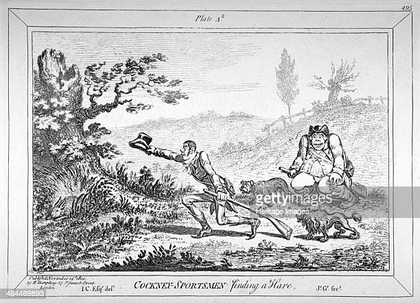 'Cockneysportsmen finding a hare' 1800 A young cit running towards a hare crouching in the grass whilst his portly companion leers stupidly in...