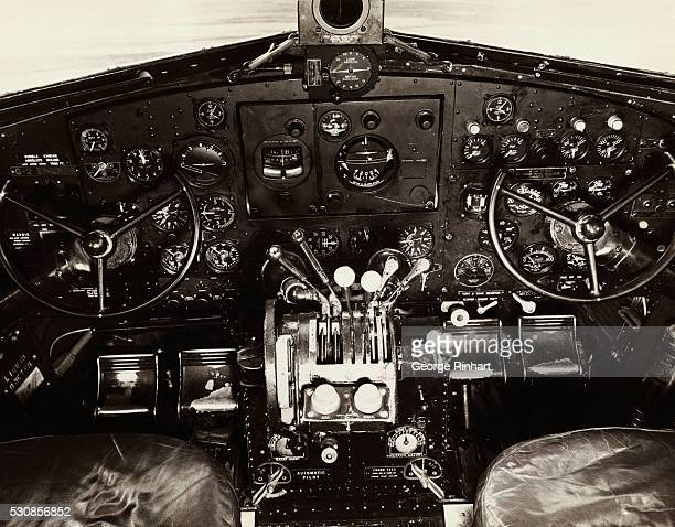 Cockpit and instrument panel of a Douglas DC3 airplane