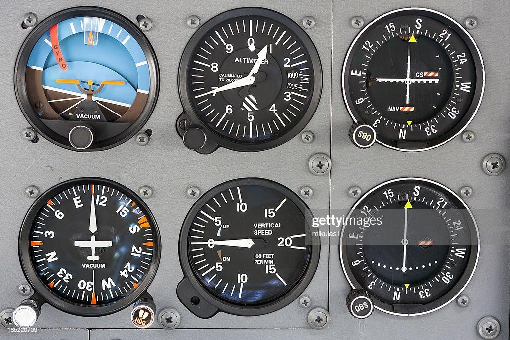 Cockpit instrument panel : Stock Photo