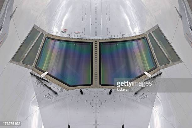 cockpit nose of airplane, symmetric - big nose stock photos and pictures