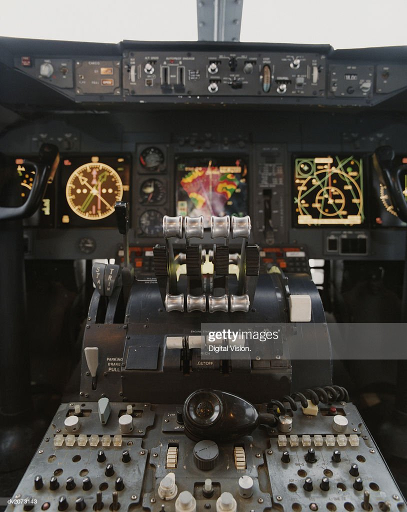 Cockpit of a Commercial Aircraft : Stock Photo