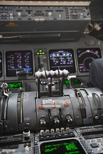 Cockpit of a MD11 Aeroplane before start at the Ezeiza International Airport airport on August 30 2008 in Buenos Aires Argentina The Republic of...