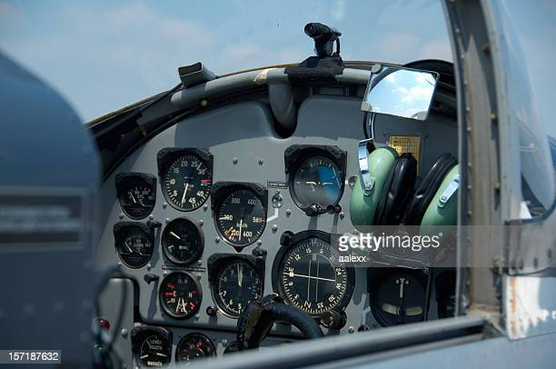 cockpit of a small aeroplane