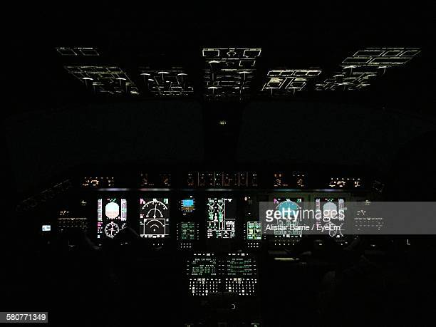 Cockpit Of Airplane At Night