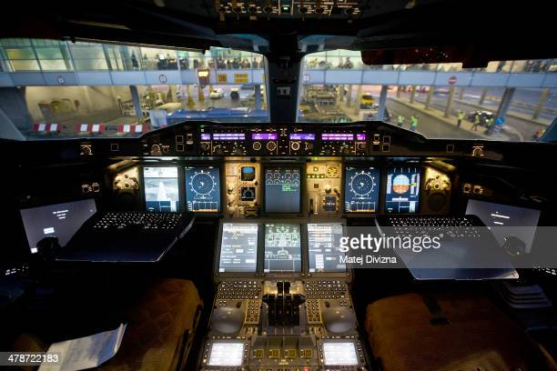 A cockpit of an Airbus A380 operated by Korean Air is seen at Vaclav Havel airport on March 14 2014 in Prague Czech Republic Korean Air Airbus A380...