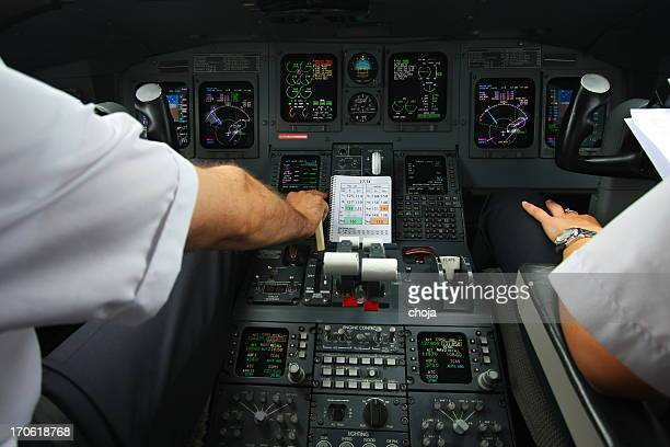 cockpit of mothern commercial airplane...pilot at work,piloting - co pilot stock photos and pictures
