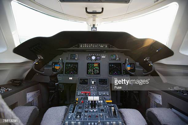 cockpit of private jet - airplane part stock photos and pictures