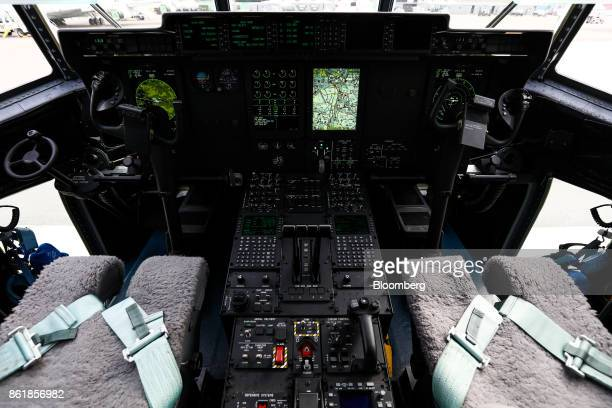 A cockpit of the US Air Force C130J Super Hercules turboprop military transport aircraft manufactured by Lockheed Martin Corp is seen during a press...