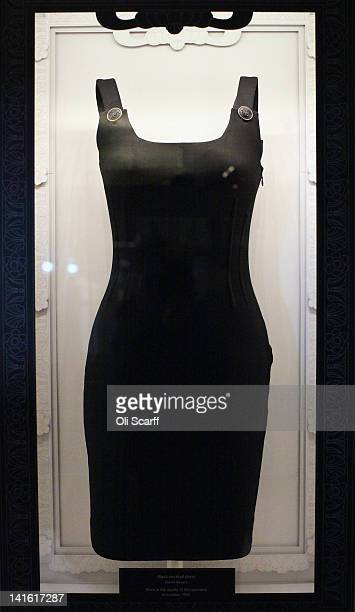 Cocktail dress designed by Gianni Versace worn by Princess Diana at the Apollo 13 film premiere in London in 1995, on display in Kensington Palace on...