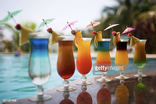 Cocktail Drinks Poolside in Row, Copy Space