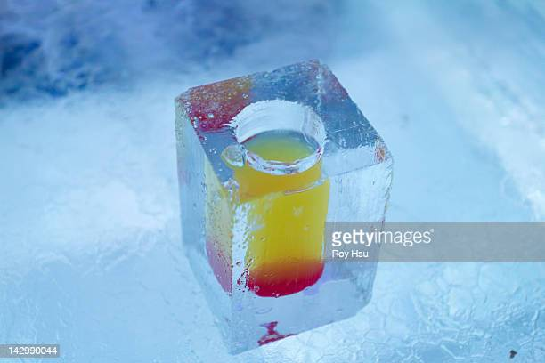 Cocktail in glass made of ice