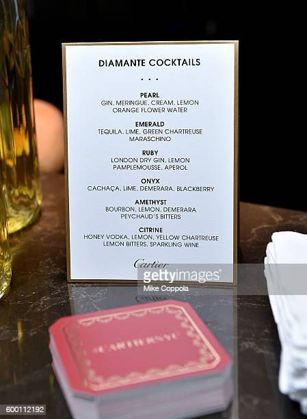 Cocktail menu at the Cartier Fifth Avenue Grand Reopening Event at the Cartier Mansion on September 7 2016 in New York City
