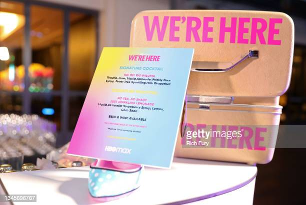 """Cocktail menu is seen during the """"We're Here"""" Season 2 Premiere at Sony Pictures Studios on October 08, 2021 in Culver City, California."""