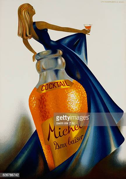 Cocktail Michel Doux Baiser Advertising Poster by S Henchoz
