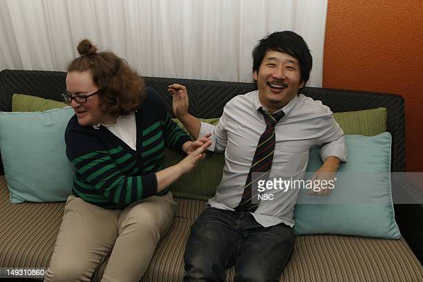 """Cocktail Reception"""" -- Pictured: Betsy Sodaro, Bobby Lee during the NBCUniversal Summer Press Tour held at the Beverly Hills Hilton in Beverly Hills,..."""