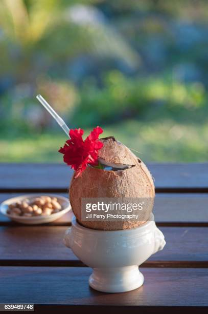 cocktail served in a coconut shell. - samoa stock pictures, royalty-free photos & images