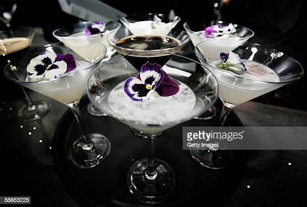 Cocktails are seen at the launch of Avolus a luxury private transport club providing celebrities and VIPs with private jet yacht helicopter and limo...
