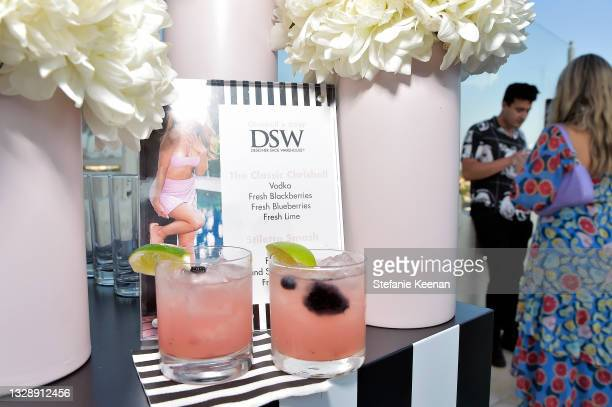 Cocktails are seen during the celebration of Chrishell Stause's DSW Fun, Flirty Capsule Collection at Sunset Tower Hotel on July 14, 2021 in Los...