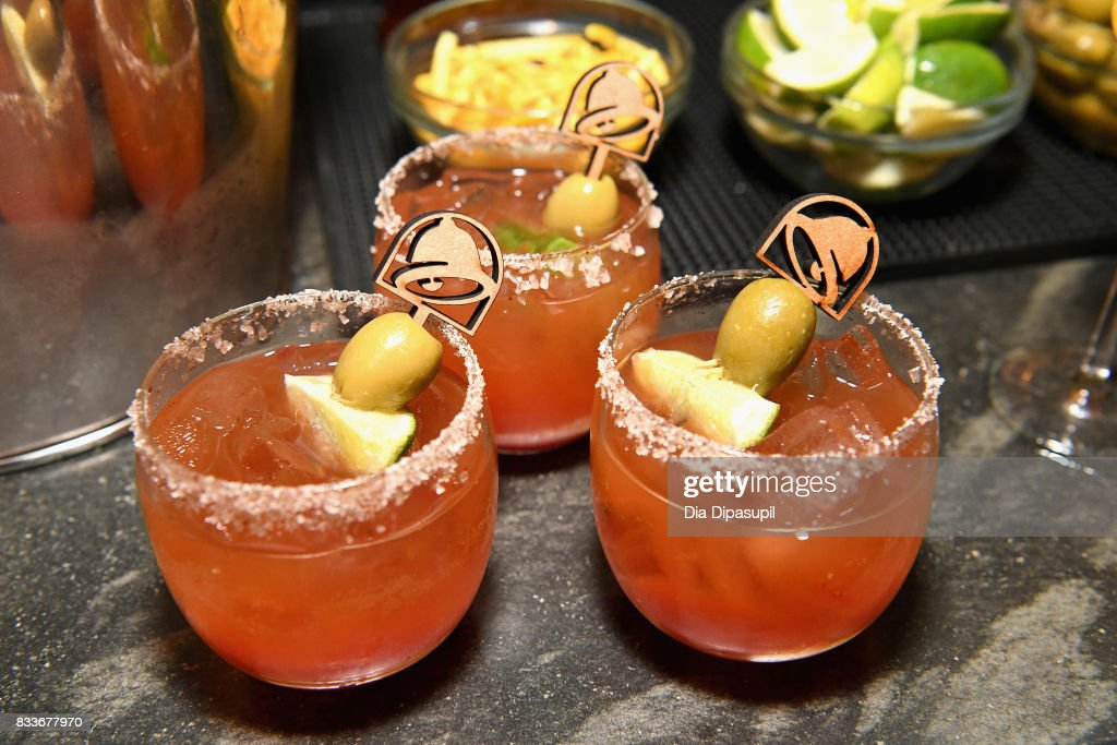 Cocktails on display at the 'Bell & Breakfast' event hosted by Taco Bell to give fans the chance to try the new Naked Egg Taco on August 17, 2017 in New York City.