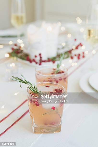Cocktails On Table During Christmas Party