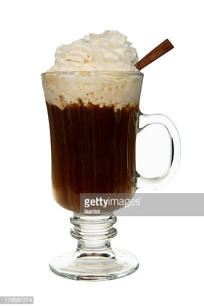 cocktails on white: irish coffee. - coffee drink stock pictures, royalty-free photos & images