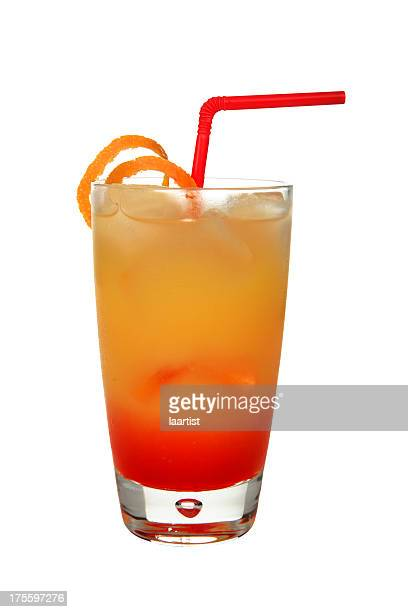 Cocktails on white: Tequila Sunrise.