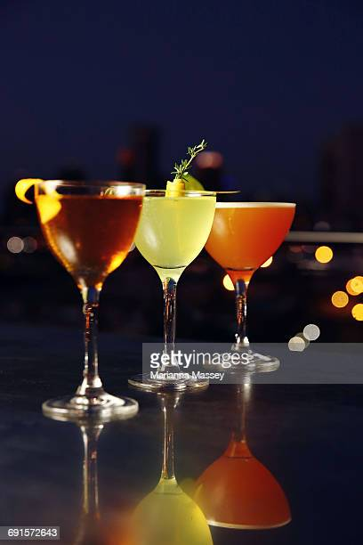 Cocktails served on a rooftop