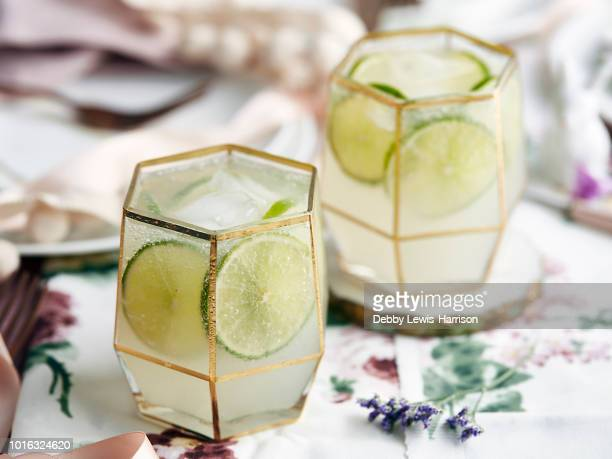 cocktails with lime slices and ice cubes - cocktail stock pictures, royalty-free photos & images