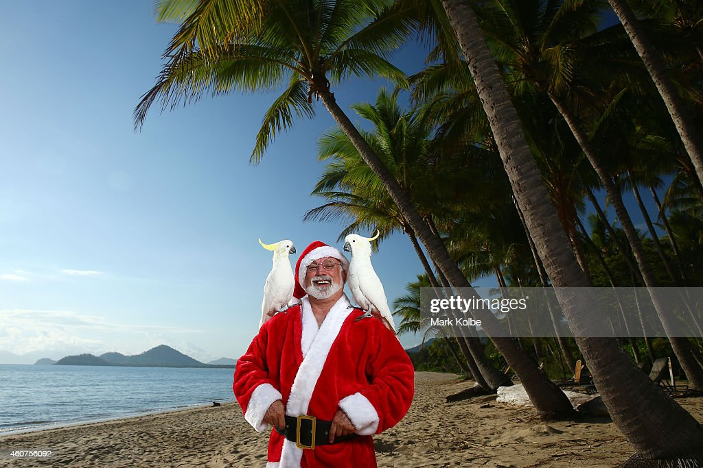 A cocky Queensland Christmas. Santa swaps two turtle doves and a partridge in a pear tree for two cockatoos under Queenslands palm trees at Palm Cove Beach on December 15, 2014 in Queensland, Australia. Queensland's beaches rank amongst the best in the world and Christmas in Queensland is about sun and summer. You'll find the warmest, whitest, biggest and most beautiful beaches stretched along the 7,400km coastline of Queensland, Australia.