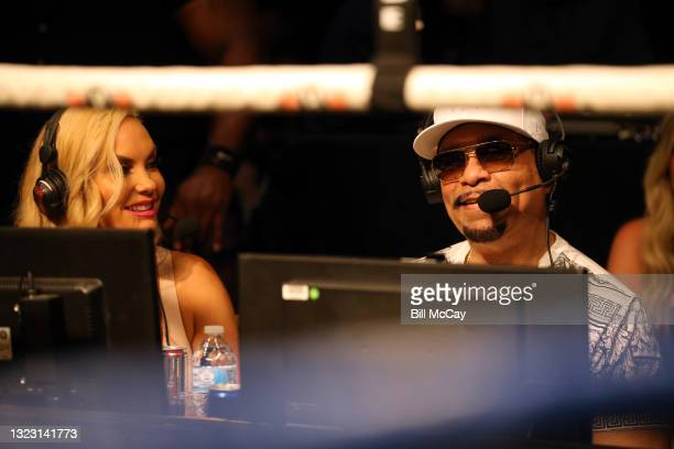 Coco and ICE-T announcing during the celebrity boxing match at Showboat Atlantic City on June 11, 2021 in Atlantic City, New Jersey.