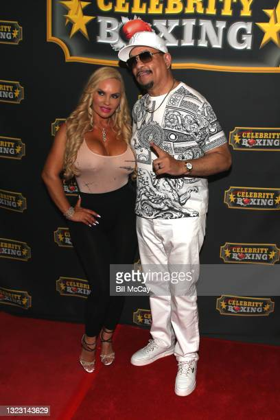 Coco and ICE-T pose at the Celebrity Boxing Match between Lamar Odom and Aaron Carter at Showboat Atlantic City on June 11, 2021 in Atlantic City,...