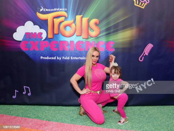 Coco Austin and daughter Chanel Marrow attend DreamWorks Trolls The Experience Rainbow Carpet Grand Opening on November 14, 2018 in New York City.