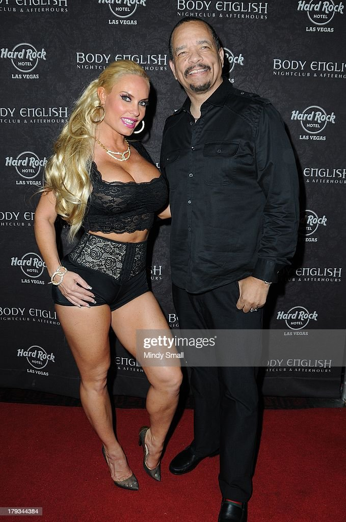 Coco Austin and Ice-T arrive at the Body English nightclub inside the Hard Rock Hotel & Casino on September 1, 2013 in Las Vegas, Nevada.