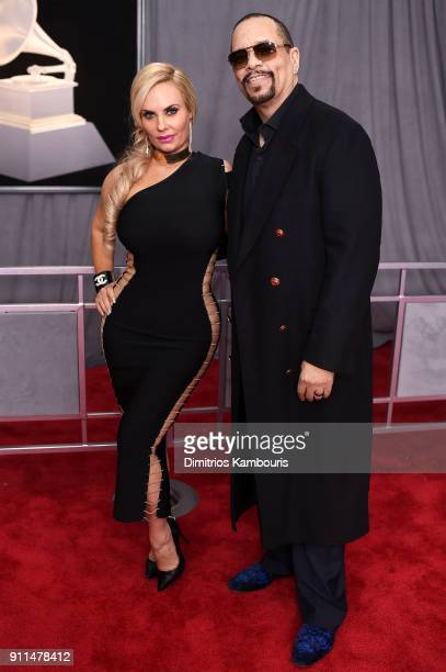 Coco Austin and recording artist IceT attend the 60th Annual GRAMMY Awards at Madison Square Garden on January 28 2018 in New York City