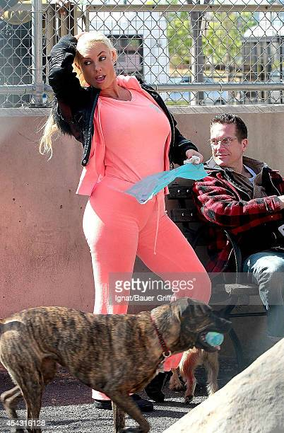 Coco Austin is seen as she takes her bulldog for a walk on March 27 2012 in New York City