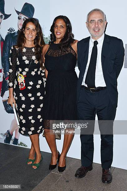 Coco Brandolini d'Adda guest and Francesco Bonami attend the Juergen Teller Dinner Hosted By Moschino during Milan Fashion Week Womenswear...