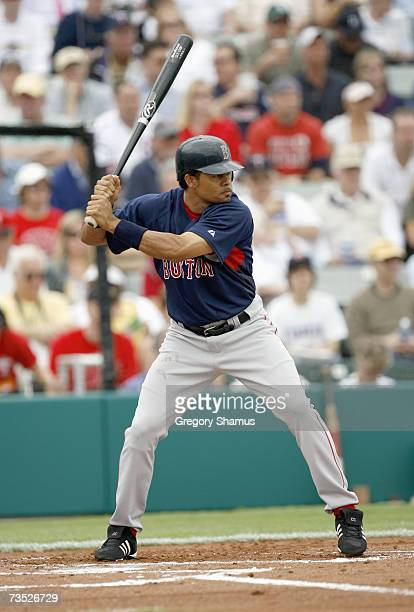 Coco Crisp of the Boston Red Sox stands ready at bat during a Spring Training game against the Minnesota Twins on March 4 2007 at Hammond Stadium in...