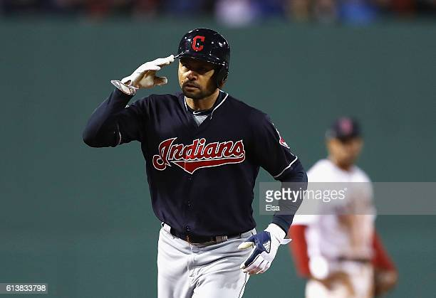 Coco Crisp of the Cleveland Indians celebrates as he runs the bases after hitting a tworun home run in the sixth inning against the Boston Red Sox...