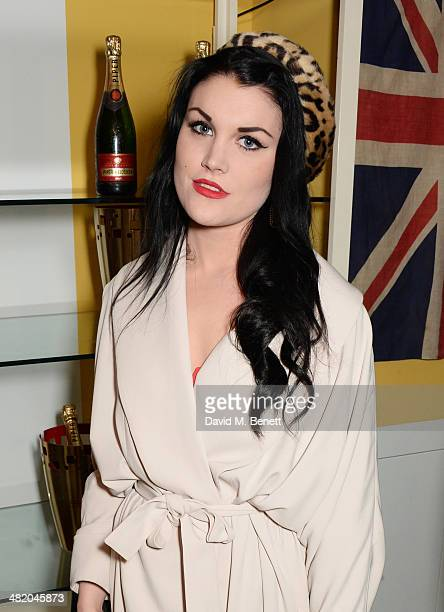 Coco Fennell attends the launch of Richard E Grant's debut fragrance Jack hosted by GQ at Liberty on April 2 2014 in London England