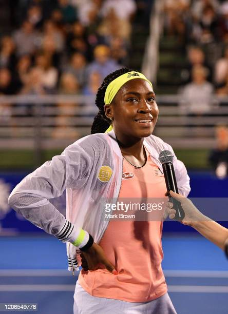 Coco Gauff gets interviewed after the Delray Beach Open Exhibition at the Delray Beach Stadium Tennis Center on February 15 2020 in Delray Beach...