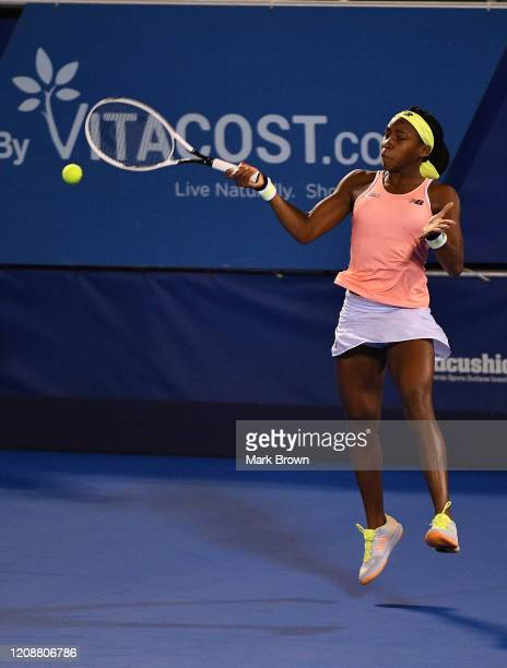 Coco Gauff in action against Estela PerezSomarriba during the Delray Beach Open Exhibition at the Delray Beach Stadium Tennis Center on February 15...