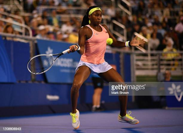 Coco Gauff in action against Estela Perez-Somarriba during the Delray Beach Open Exhibition at the Delray Beach Stadium & Tennis Center on February...