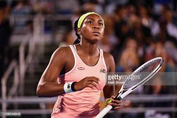 Coco Gauff looks on during the Delray Beach Open Exhibition at the Delray Beach Stadium Tennis Center on February 15 2020 in Delray Beach Florida