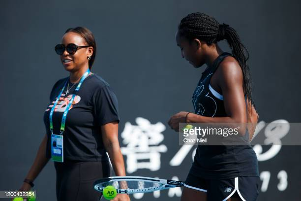 Coco Gauff of the United States and her mom Candi Gauff during practice ahead of the 2020 Australian Open at Melbourne Park on January 19 2020 in...